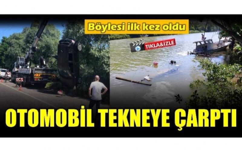 OTOMOBİL TEKNEYE ÇARPTI